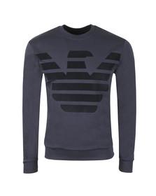 Emporio Armani Mens Blue Large Felt Logo Sweatshirt