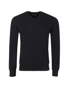 Emporio Armani Mens Blue High V Neck Jumper