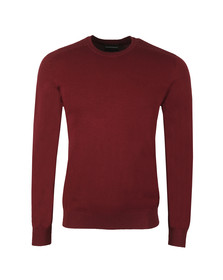 Emporio Armani Mens Red Embossed Logo Crew Jumper