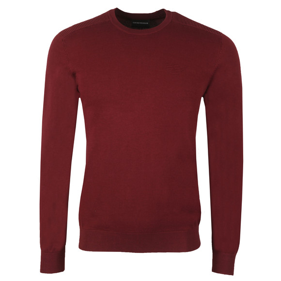 Emporio Armani Mens Red Embossed Logo Crew Jumper main image