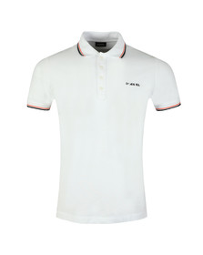 Diesel Mens White Randy Broken Polo Shirt