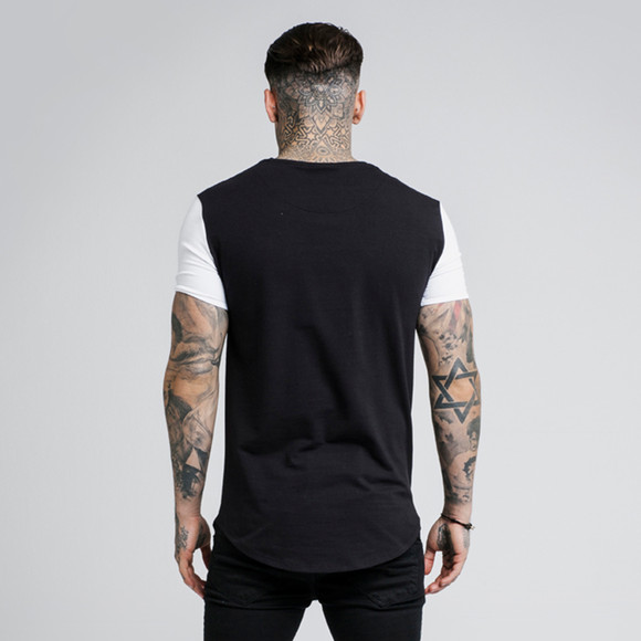 Sik Silk Mens Black Contrast Gym T-Shirt main image