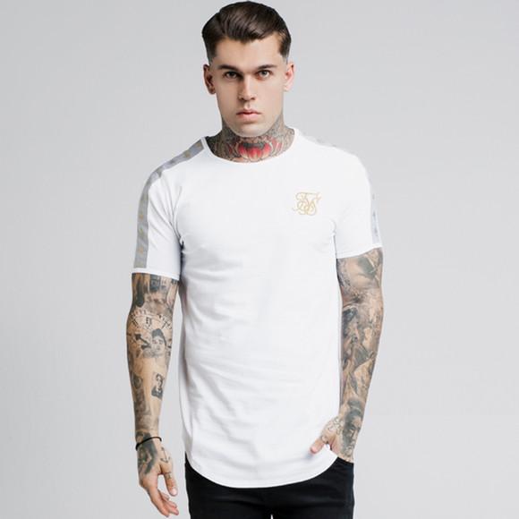Sik Silk Mens White Lurex Gold Tape T-Shirt main image