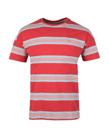 Farah Mens Red Elkin Multi Stripe T-Shirt