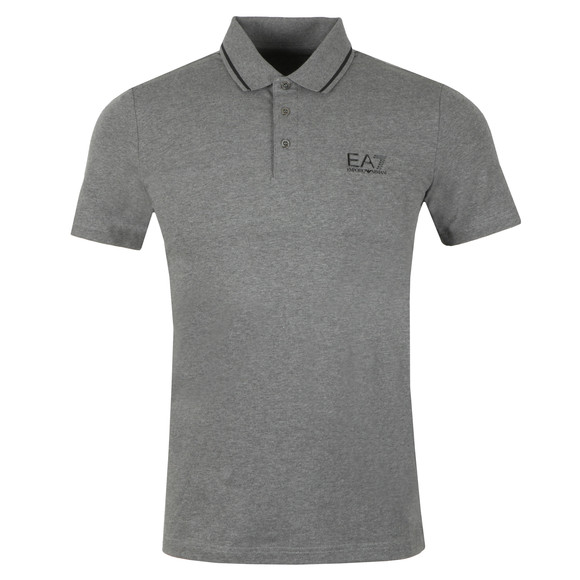 EA7 Emporio Armani Mens Grey Small Rubber Logo Polo Shirt main image