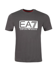 EA7 Emporio Armani Mens Grey Large Rubber Logo T Shirt