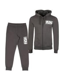 EA7 Emporio Armani Mens Grey Rubber Logo Full Zip Hooded Tracksuit