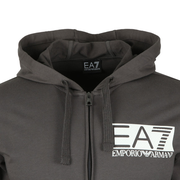 EA7 Emporio Armani Mens Grey Rubber Logo Full Zip Hooded Tracksuit main image