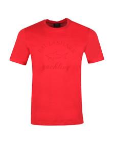 Paul & Shark Mens Red Large Logo Tonal T Shirt