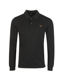 Paul & Shark Mens Black Chest Badge Long Sleeve Polo Shirt