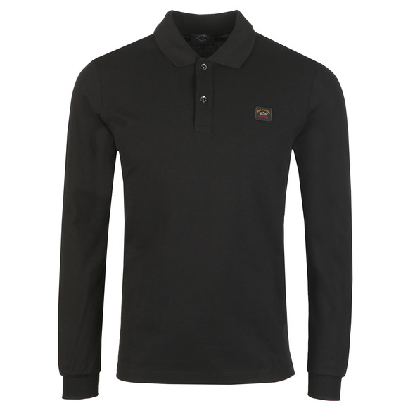 Paul & Shark Mens Black Chest Badge Long Sleeve Polo Shirt main image