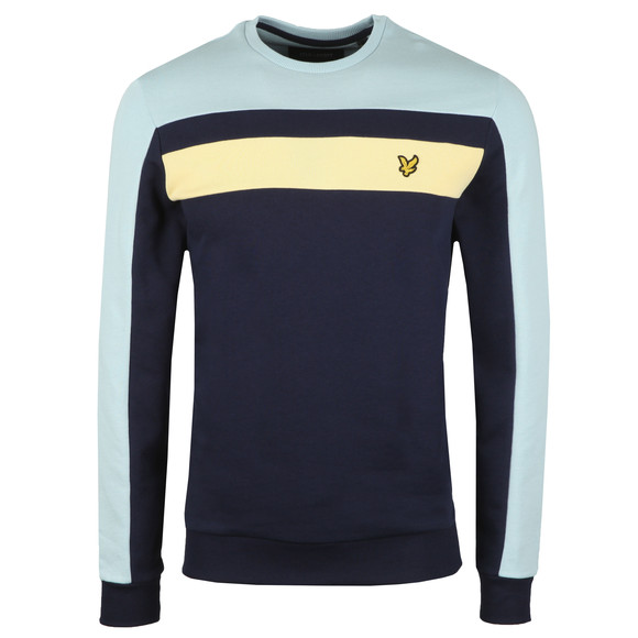 Lyle and Scott Mens Blue Colour Block Sweatshirt main image