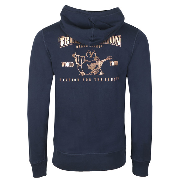 True Religion Mens Blue Metallic Double Puff Hoodie main image