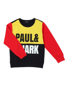 Paul & Shark Cadets Boys Black Colour Block Logo Sweatshirt