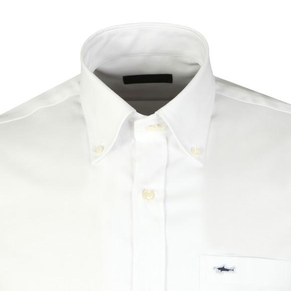 Paul & Shark Mens White Shark Logo Oxford Shirt