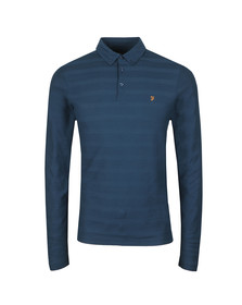 Farah Mens Blue L/S Darwen Polo
