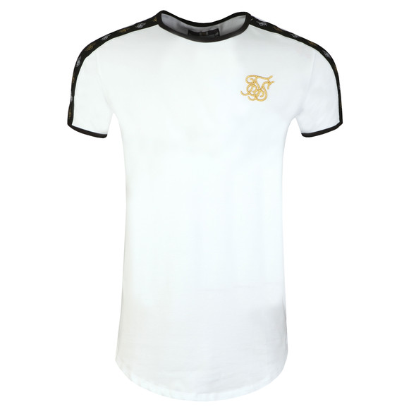 Sik Silk Mens White Taped Gym Tee main image