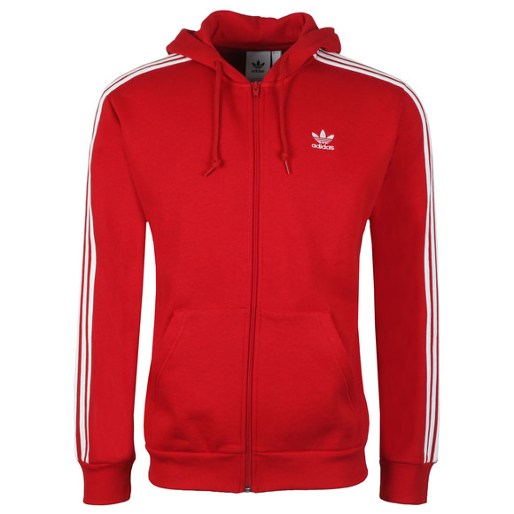 adidas Originals Mens Red 3 Stripes Hoodie main image