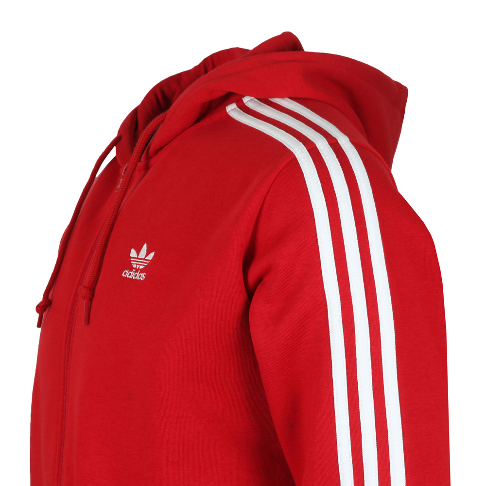 Mens Red 3 Stripes Hoodie