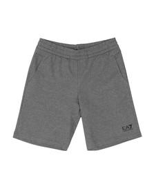 EA7 Emporio Armani Mens Grey Small Rubber Logo Jersey Short