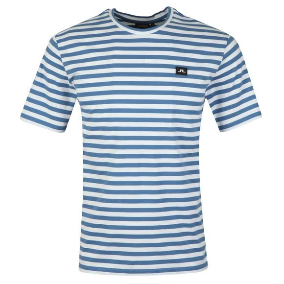 J.Lindeberg Mens Blue Charles Plain Stripe T Shirt