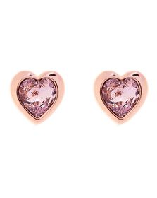 Ted Baker Womens Pink Han Crystal Heart Earring