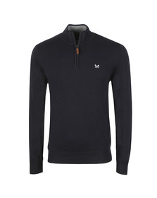 Crew Clothing Company Mens Blue Classic 1/2 Zip Knit