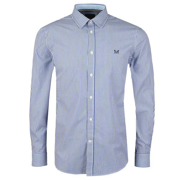 Crew Clothing Company Mens Blue Classic Stripe Shirt main image