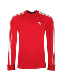 adidas Originals Mens Red 3 Stripes L/S Tee