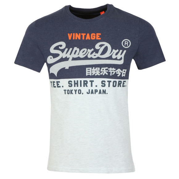 Superdry Mens Blue Shirt Shop Tri Panel Tee main image