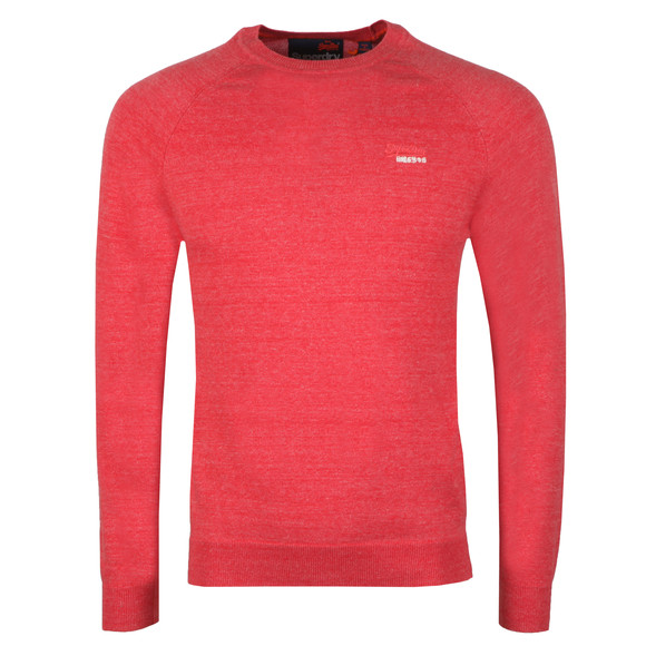 Superdry Mens Red Cotton Crew Jumper
