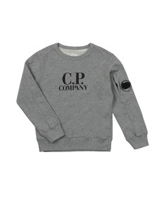 C.P. Company Undersixteen Boys Grey Logo Viewfinder Sleeve Fleece Sweatshirt