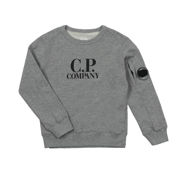 C.P. Company Undersixteen Boys Grey Logo Viewfinder Sleeve Fleece Sweatshirt