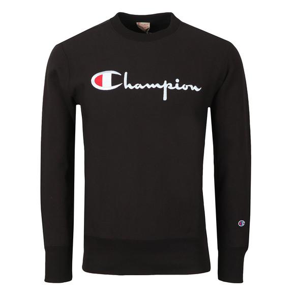 Champion Reverse Weave Mens Black Script Logo Sweatshirt