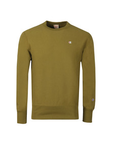 Champion Reverse Weave Mens Green Small Logo Sweatshirt