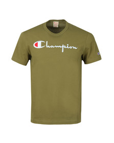Champion Reverse Weave Mens Green Script Logo T-Shirt