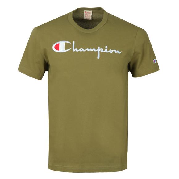 Champion Reverse Weave Mens Green Script Logo T-Shirt