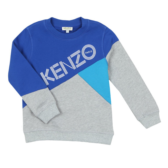 Kenzo Kids Boys Grey Panel Logo Sweatshirt