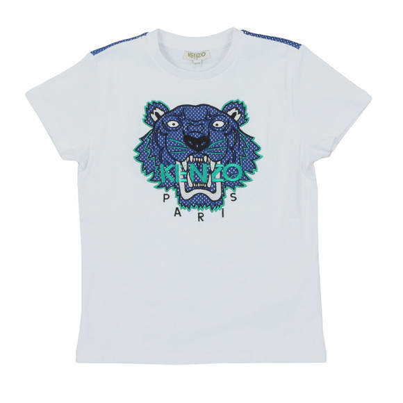 Kenzo Kids Boys White Perforated Tiger T Shirt