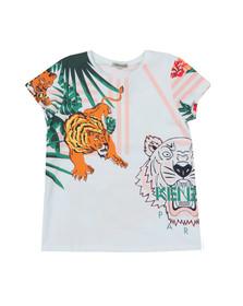 Kenzo Kids Girls White Faustine Hawai Kenzo T Shirt
