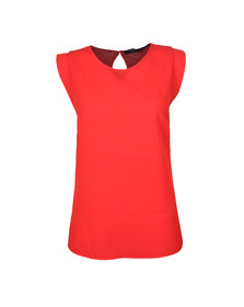 French Connection Womens Red Crepe Light Cap Sleeve Top