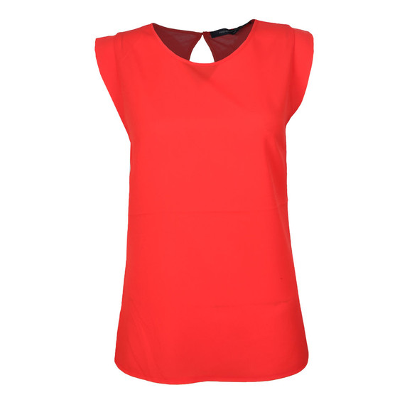 French Connection Womens Red Crepe Light Cap Sleeve Top main image