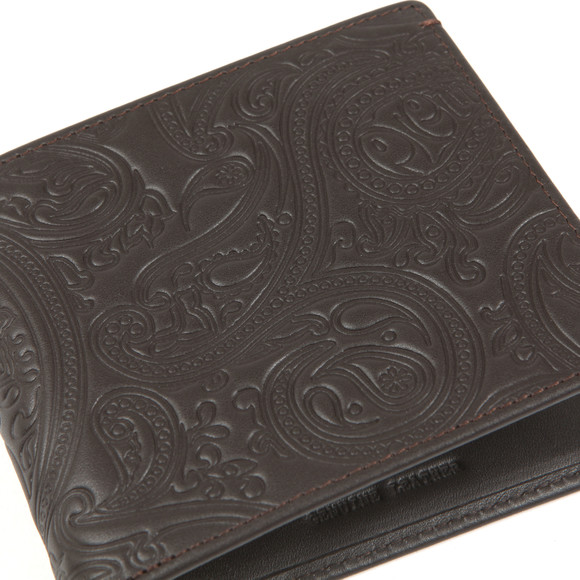 Pretty Green Mens Brown Paisley Embossed Bifold Wallet main image