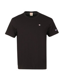 Champion Mens Black Reverse Weave Small Logo Back Script T Shirt