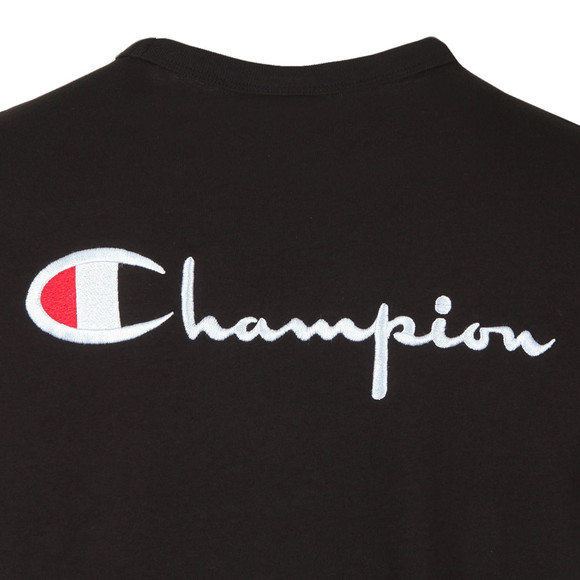 Champion Mens Black Reverse Weave Small Logo Back Script T Shirt main image