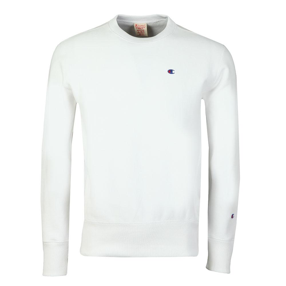 62bc9e05 Champion Mens White Reverse Weave Small Logo Sweatshirt main image. Loading  zoom