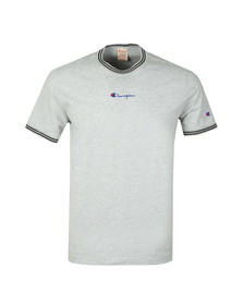 Champion Reverse Weave Mens Grey Tipped Neck T Shirt