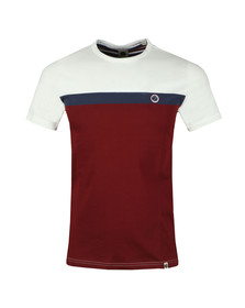 Pretty Green Mens Red Colour Block Tee