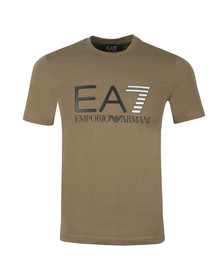 EA7 Emporio Armani Mens Green Large Logo Crew T Shirt