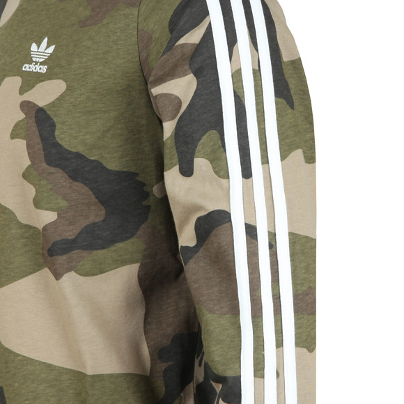 adidas Originals Mens Green 3 Stripes L/S Tee main image